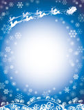 Azul del trineo de Santa y del reno Imagen de archivo