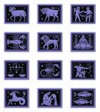 Azul determinado del botón del zodiaco Imagen de archivo libre de regalías