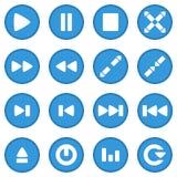 Azul determinado del icono del vídeo Imagenes de archivo
