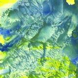 Azul do amarelo da textura do fundo do monótipo da aquarela Fotografia de Stock Royalty Free