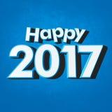 Azul do ano novo feliz 2017 Foto de Stock