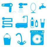 azul do banheiro de 11 ícones Imagens de Stock Royalty Free