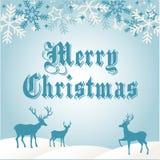Azul do cartão de cumprimentos do Feliz Natal Fotos de Stock Royalty Free