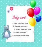 Azul do cartão do feliz aniversario do bebê Fotos de Stock Royalty Free