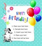 Azul do cartão do feliz aniversario do bebê Fotografia de Stock