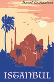 Azul do cartaz do vintage de Hagia Sophia Fotografia de Stock
