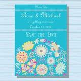 Azul do convite do casamento do outono no fundo de madeira ilustração royalty free