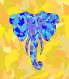 Azul do elefante no fundo amarelo das folhas das máscaras imagem de stock