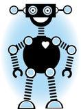 Azul do esboço dos desenhos animados da silhueta do robô Fotos de Stock