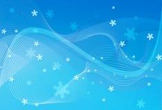 Azul do fundo com floco de neve Ilustração Stock