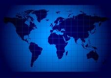 Azul do mapa de mundo Fotos de Stock