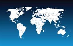Azul do mapa de mundo Fotografia de Stock Royalty Free
