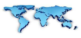 azul do mapa do Wold 3D Imagens de Stock