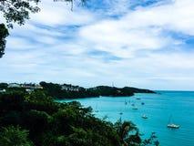 azul do mar com barco Fotografia de Stock Royalty Free