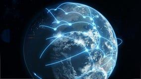 Azul do negócio global e da rede de comunicações ilustração stock