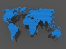 Azul do preto do mapa de mundo Fotografia de Stock Royalty Free