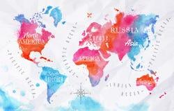 Azul do rosa do mapa do mundo da aquarela Fotografia de Stock