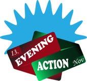 Azul do sinal da ação da noite Fotos de Stock Royalty Free