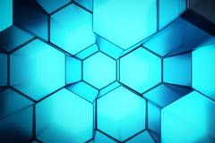azul do sumário da ilustração 3D do teste padrão de superfície futurista do hexágono com raios claros Fundo sextavado do matiz az Imagens de Stock Royalty Free