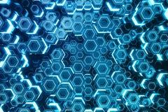 Azul do sumário do teste padrão de superfície futurista do hexágono, favo de mel sextavado com raios claros, rendição 3D Imagem de Stock