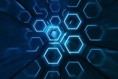 Azul do sumário do teste padrão de superfície futurista do hexágono, favo de mel sextavado com raios claros, rendição 3D ilustração stock