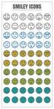 Azul do verde amarelo do preto da cor do vetor do smiley dos ícones no backg branco Fotos de Stock Royalty Free