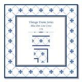 Azul Dot Line Cross del marco 156 del vintage 3D Fotos de archivo