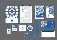 Azul e alaranjado com molde da identidade corporativa do hexágono Imagens de Stock