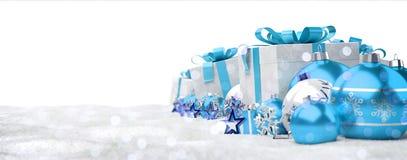 Azul e de presentes e de quinquilharias 3D do White Christmas rendição Foto de Stock