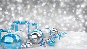 Azul e de presentes e de quinquilharias 3D do White Christmas rendição Fotografia de Stock