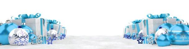 Azul e de presentes e de quinquilharias 3D do White Christmas rendição Imagens de Stock Royalty Free