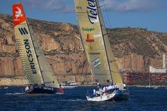 Azul e Ericsson de Telefonica dos iate no VOR Foto de Stock Royalty Free