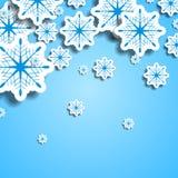 Azul e flocos de neve do White Christmas Imagem de Stock Royalty Free