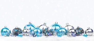 Azul e rendição das quinquilharias 3D do White Christmas Imagem de Stock Royalty Free