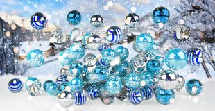 Azul e rendição das quinquilharias 3D do White Christmas Foto de Stock Royalty Free