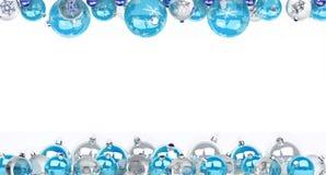 Azul e rendição das quinquilharias 3D do White Christmas Ilustração Stock