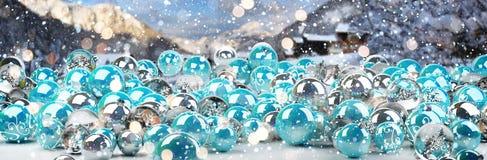 Azul e rendição das quinquilharias 3D do White Christmas Ilustração do Vetor