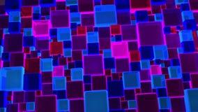 Azul e Violet Lights Cubes Background In de néon 4k video estoque