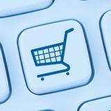 Azul em linha do conceito da loja do Internet do comércio eletrónico do comércio eletrônico da compra Foto de Stock Royalty Free