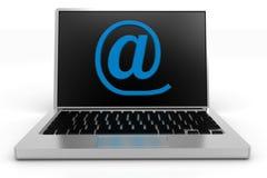 Azul en Rate Symbol Projecting de un ordenador portátil Imagen de archivo libre de regalías
