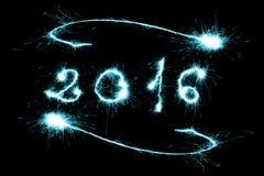 Azul 2016 escrito com faísca Imagens de Stock