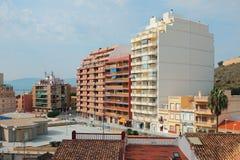 Azul Faro kwadrat i Virgen Carmen ulica Cullera, Hiszpania Fotografia Stock
