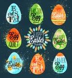 Azul feliz del huevo de Pascua Fotografía de archivo libre de regalías