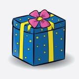 Azul festivo da caixa de presente Imagens de Stock Royalty Free