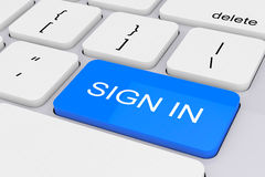 Azul firme adentro la llave en el teclado blanco de la PC representación 3d stock de ilustración