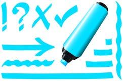 Azul fluorescente do marcador Imagens de Stock Royalty Free
