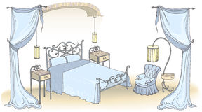 Azul forjado da cor do arco da cama Fotos de Stock