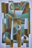 Azul geométrico da arte de Digitas, verde e marrom imagem de stock royalty free