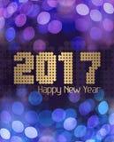Azul Glittery do ano novo feliz 2017 Imagem de Stock Royalty Free