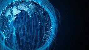 Azul global de la red del mundo ilustración del vector